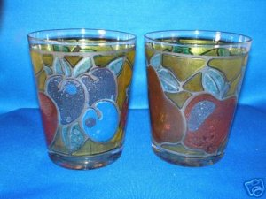 GLASSWARE AS SHOWN~SET OF 2 RETRO STAINED GLASS FRUIT