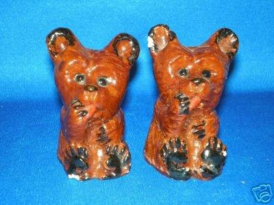 OLD CHALKWARE BEARS Salt & Pepper Shakers
