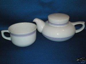 RETRO PURPLE DOT TEA POT AND CUP