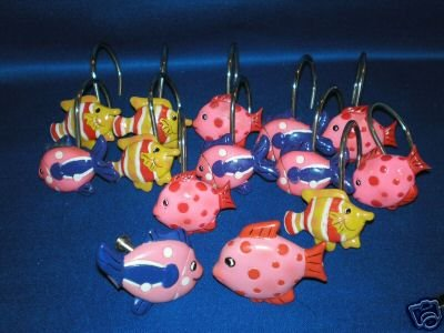 COLORFUL FANCY FISH SHOWER CURTAIN HOOKS AND PULL KNOBS