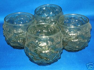 GLASSWARE AS SHOWN~SET OF 4 BUMPY TUMBLERS GLASSES