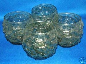 GLASSWARE AS SHOWN~SET OF 4 BUMPY TUMBLERS GLASSES