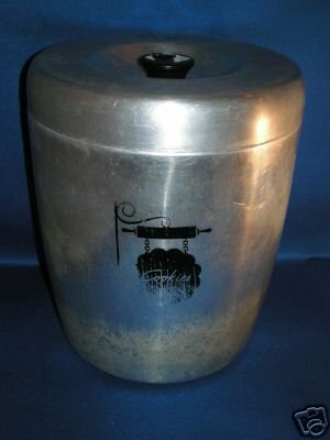 COOKIE JAR AS SHOWN~VINTAGE WEST BEND ALUMINUM CANISTER