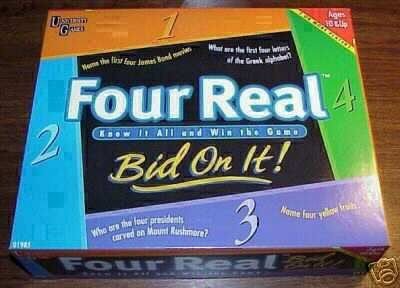 FOUR REAL TRIVIA PARTY BOARD CARD GAME