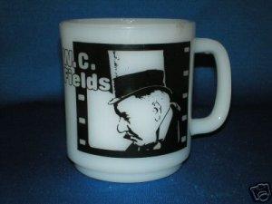 W.C. FIELDS CUP MUG MILK GLASS JOHN BARRYMORE