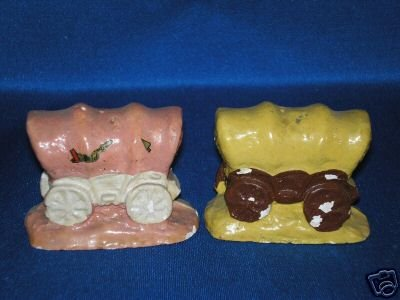 OLD CHALKWARE COVERED WAGONS Salt Pepper Shakers