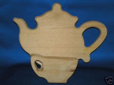 WOODEN TEAPOT TEACUP NAPKIN HOLDER AS SHOWN