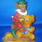 VINTAGE WAX FIGURE CANDLE SANTA'S  ELF WITH BEAR