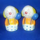 VINTAGE SALT AND PEPPER SHAKERS SET PLASTIC CLOWNS