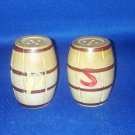VINTAGE SALT AND PEPPER SHAKERS SET WOODEN BARRELS