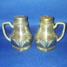 VINTAGE SALT AND PEPPER SHAKERS SET SILVER METAL DINNERWARE