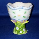 BLUE  RIMMED EASTER EGG CUP~AS SHOWN FLORAL