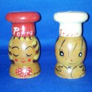 VINTAGE SALT AND PEPPER SHAKERS SET WOODEN SALTY PEPPY