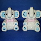 VINTAGE SALT AND PEPPER SHAKERS SET PATCHWORK BABY ELEPHANTS