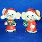 VINTAGE SALT AND PEPPER SHAKERS SET PLASTIC CHRISTMAS MICE
