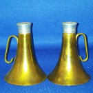 VINTAGE SALT AND PEPPER SHAKERS SET BRASS BUGLES HORNS