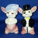 VINTAGE SALT AND PEPPER SHAKERS SET DAPPER RABBITS