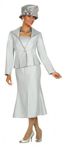 Silver Size 8-26W Woman's GMI Suit#3152 Rhinestone Trimmed 2pc Suit