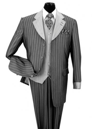 Black and gray Men suit 2911V