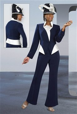 Woman'sSize 20  Navy with Ivory Pant Suit #11209