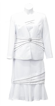 Woman's White 3PC Embellished Susanna Suit#3466