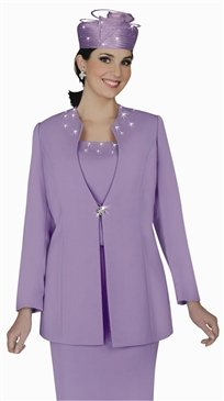 Woman's  Francessca Bellini 27273 Embellished Neckline 2pc Suit