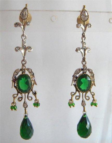 natural ruby emerald gemstone handmade dangler earing jewelery