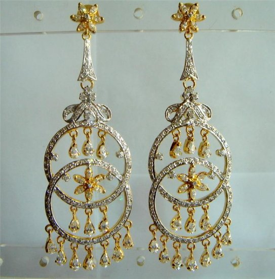 blue matching antique style cz dangler earing jewelery