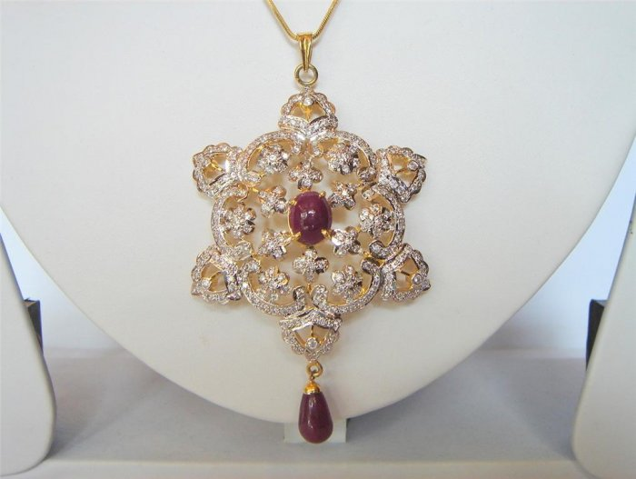 natural ruby cz matching antique style dangler earing jewelery