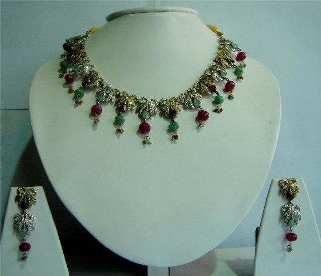 Handmade Magenta CZ studded Twotone Choker Necklace set
