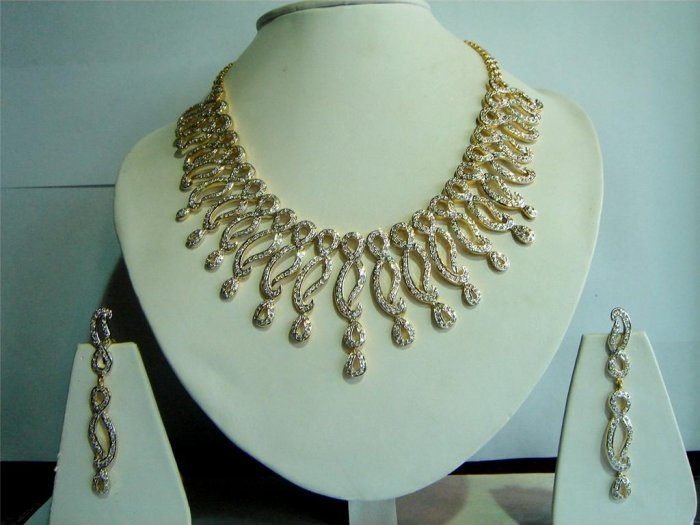 fine cz India Handmade twotone necklace earing jewelery