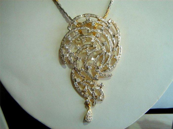 handmade fine cz necklace earing jewelery twotone platd