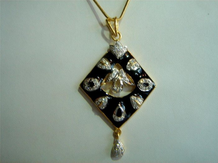 solitaire ruby cz handmade twotone pendant earing jewelery set