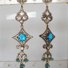 indian blue enamel meena twotone cz pendant earing jewelery set
