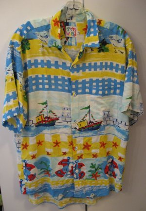 Jams World Hawaiian mens nautical print rayon shirt  Small