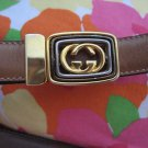 "Gucci Italy Tan  leather belt Gold tone G buckle 30.5"" - 32.5"""