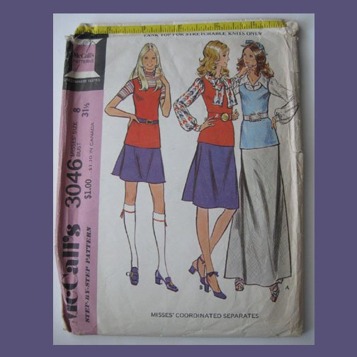 McCall's Vintage Sewing Pattern, #3046, Size 8, 1971, Misses Coordinated Separates