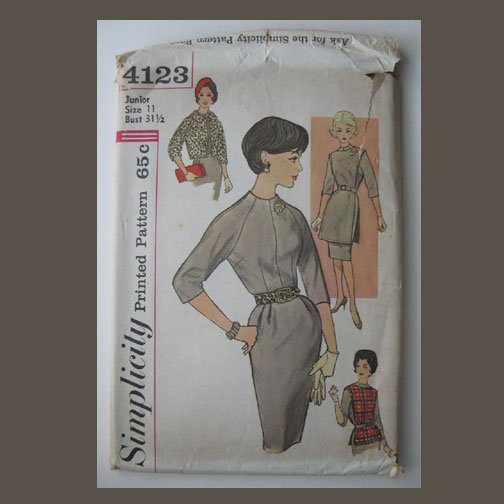 Simplicity Vintage Sewing Pattern, #4123, Size 11, Juniors' One-piece Dress, Tunic & Jacket