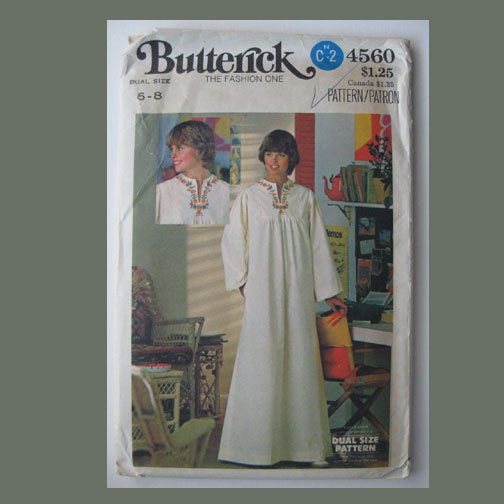 Butterick Vintage Sewing Pattern, #4560, Dual Size 6-8, Misses' Caftan, 4-color transfer