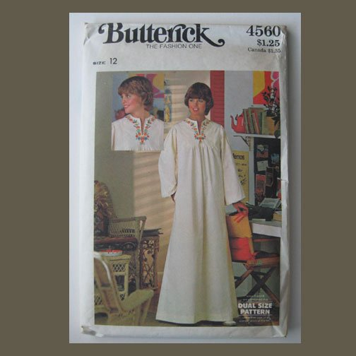 Butterick Vintage Sewing Pattern, #4560, Size 12, Misses' Caftan, Uncut, 4-color transfer