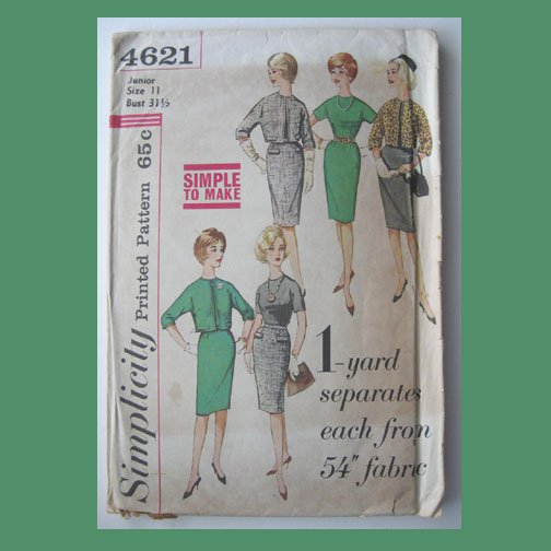Simplicity Vintage Sewing Pattern, #4621, Size 11, Junior's Skirt, Jacket & Blouse