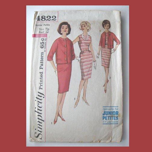 Simplicity Vintage Sewing Pattern, #4822, Size 7JP, 1-pc Dress, Jacket