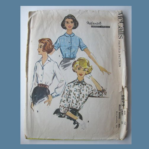 McCall's Vintage Sewing Pattern, #5079, Size 10, Misses' Blouse