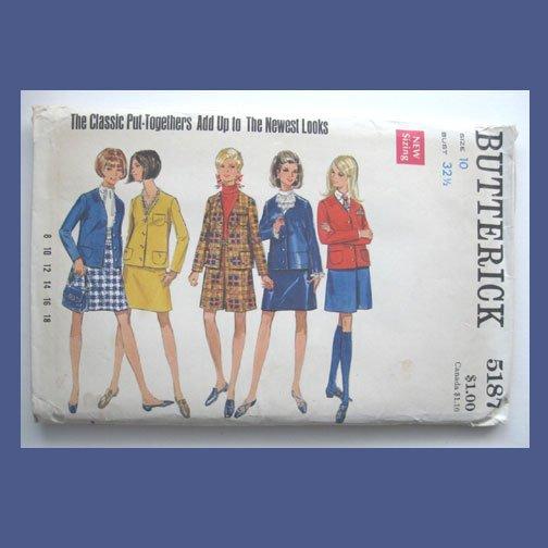 Butterick Vintage Sewing Pattern, #5187, Size 10, Misses' Jacket, Skirt, Pantskirt