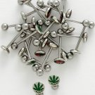 316 STAINLESS STEEL FLAT TOP 14 GAUGE GREEN POT LEAF TONGUE RING