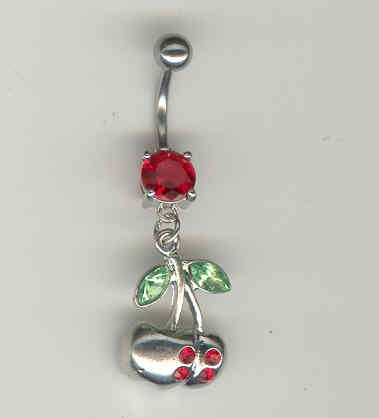 14 GAUGE RED CZ PRONG CHERRY BELLY NAVEL RING BODY JEWELRY #4