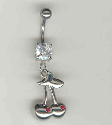 14 GAUGE CLEAR CZ PRONG CHERRY BELLY NAVEL RING BODY JEWELRY #14