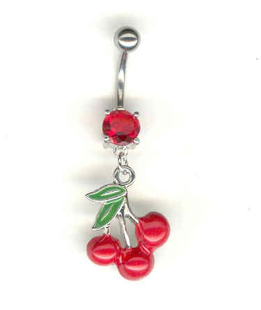 14 GAUGE  RED CZ PRONG CHERRY BELLY NAVEL RING BODY JEWELRY #2