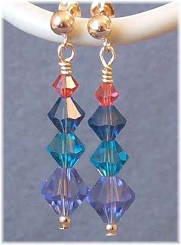 Swarovski Crystal Earrings in Purple, Teal, Blue & Coral