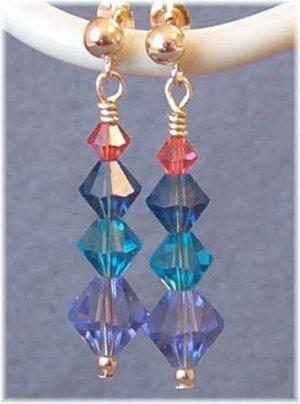 Swarovski Crystal Earrings in Purple, Teal, Blue & Coral
